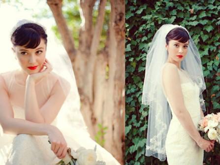 Tóc cô dâu búi cao cổ điển kết hợp lúp voan