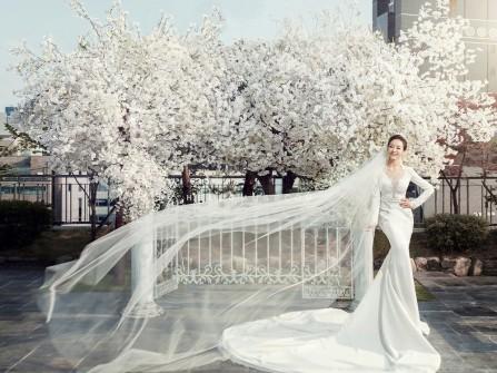 Váy cưới đẹp dáng đuôi cá tay dài phối ren