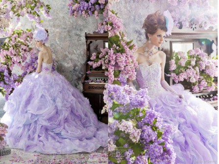 Váy cưới đẹp màu tím cúp ngực sang trọng