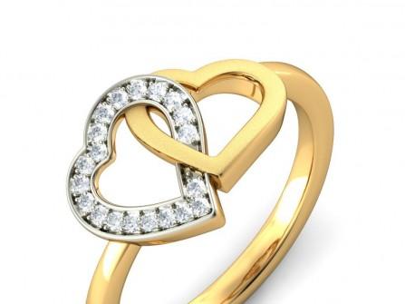 Nhẫn cưới vàng đính kim cương hai trái tim lồng vào nhau