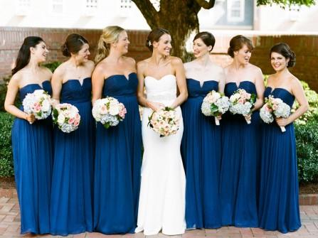 Váy phụ dâu màu xanh dương cúp ngực sang trọng