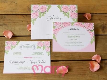 Thiệp cưới đẹp hoa hồng phấn phong cách vintage