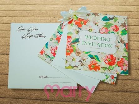 Thiệp cưới đẹp họa tiết hoa mùa hè nổi bật