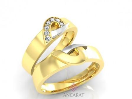 Nhẫn đôi vàng tây ghép hình hai nửa trái tim