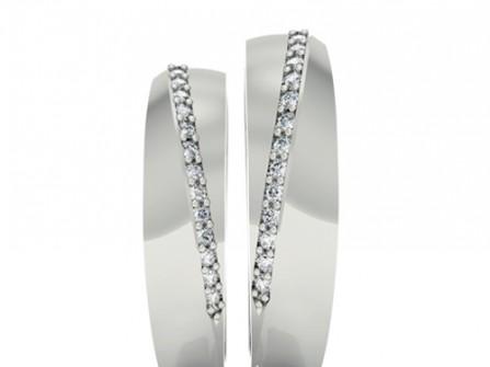 Nhẫn cưới vàng trắng đính đá một đường thẳng xéo