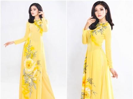 Áo dài cưới truyền thống chất lụa màu vàng họa tiết hoa lá
