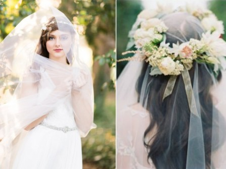 Tóc cô dâu kiểu tự nhiên với lúp cưới trong suốt