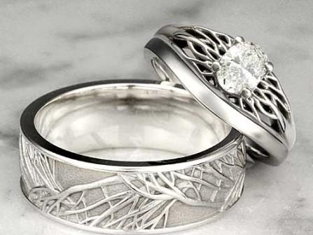 Nhẫn cưới vàng trắng hình nhánh cây cách điệu
