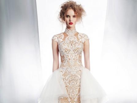 Váy cưới đẹp họa tiết cầu kỳ đắp voan trắng nhiều tầng