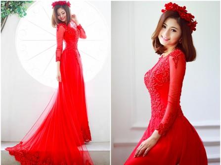 Áo dài cưới màu đỏ cách tân kết ren tà dài sang trọng