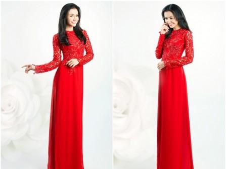 Áo dài cưới màu đỏ cổ tròn tay áo phối ren cầu kỳ
