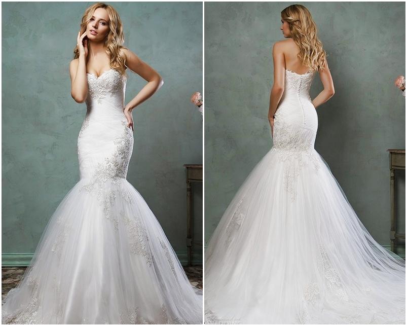 Váy cưới đẹp dáng đuôi cá cúp ngực kết hợp ren voan