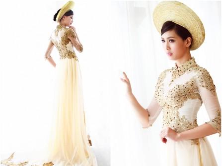 Áo dài cưới đẹp chất voan màu kem phối ren ánh vàng