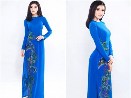 Áo dài cưới đẹp màu xanh họa tiết trang trí cổ điển sang trọng