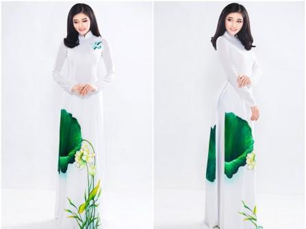 Áo dài cưới đẹp màu trắng vẽ hoa sen ấn tượng