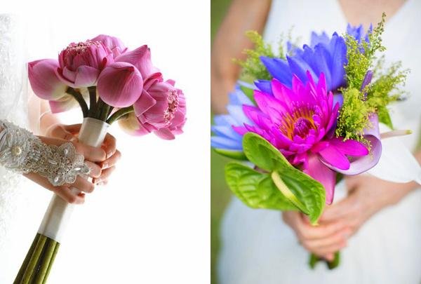 Hoa cưới cầm tay giản dị kết từ hoa sen, hoa súng