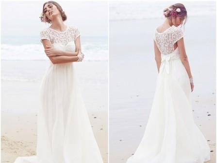 Váy cưới đẹp chất liệu chiffon phối ren hoa dịu dàng