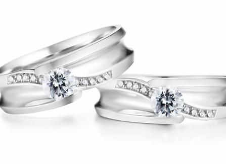 Nhẫn cưới vàng trắng đính kim cương tinh xảo