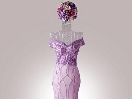 Váy cưới đẹp trễ vai đuôi cá màu tím pastel ngọt ngào