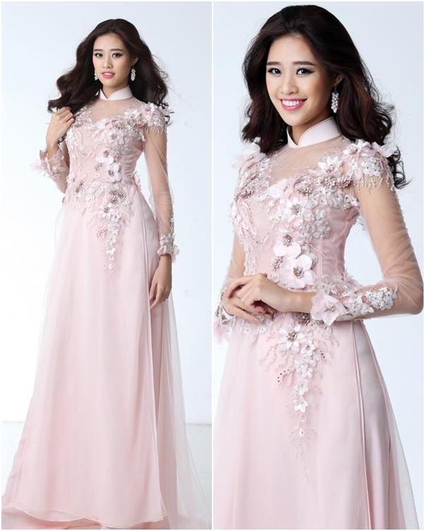 Áo dài cưới đẹp màu hồng phấn kết hoa nổi 3D