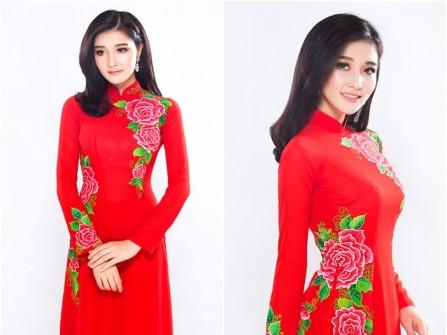 Áo dài cưới đỏ truyền thống họa tiết hoa mẫu đơn