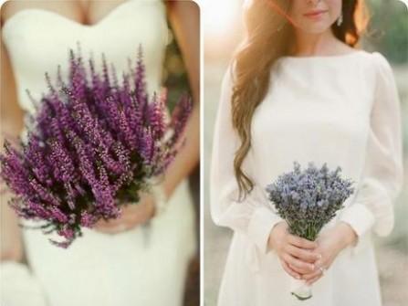 Hoa cưới cầm tay cô dâu màu tím đơn sắc