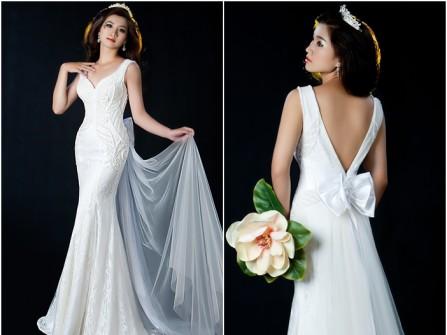Váy cưới đẹp đuôi cá đính pha lê phối voan sang trọng