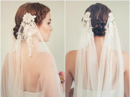 Tóc cưới đẹp búi thấp kết hợp lúp voan hoa trắng