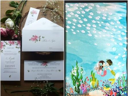 Tiệc cưới ấn tượng hơn với sổ ký tên và thiệp cưới độc đáo