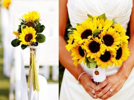 Hoa cầm tay và hoa trang trí tiệc kết từ hoa hướng dương