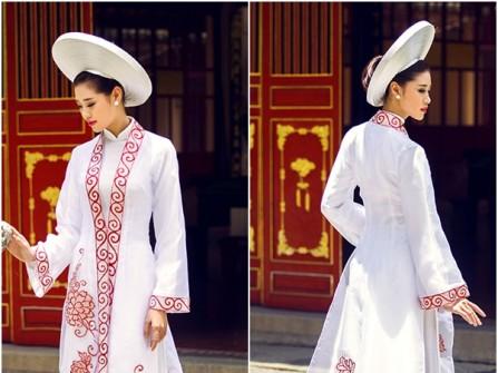 Áo dài cưới đẹp phong cách truyền thống họa tiết hoa mẫu đơn