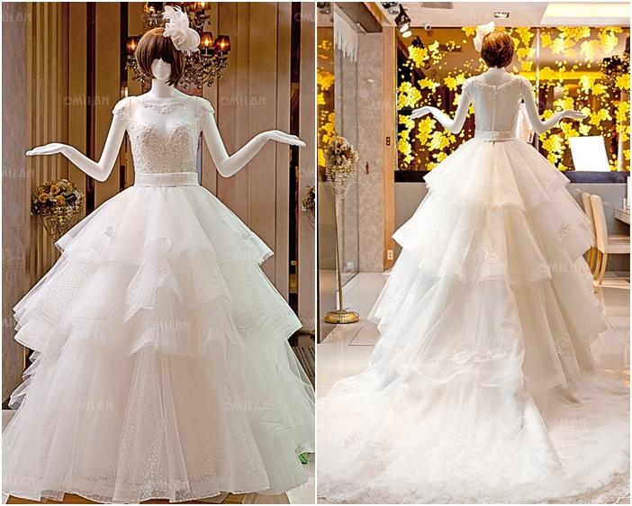 Váy cưới đẹp xếp tầng phối ren và voan tinh tế