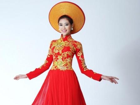 Áo dài cưới đẹp màu đỏ họa tiết rồng sang trọng