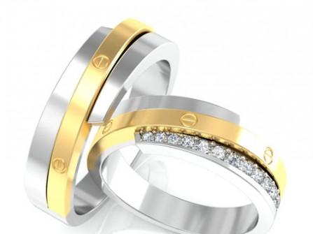 Nhẫn cưới vàng kết hợp vàng trắng đính đá sang trọng