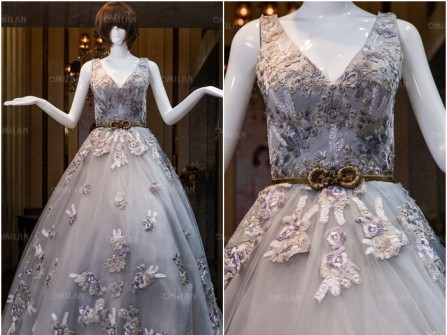 Váy cưới đẹp màu xám sang trọng thêu hoa nổi cầu kỳ
