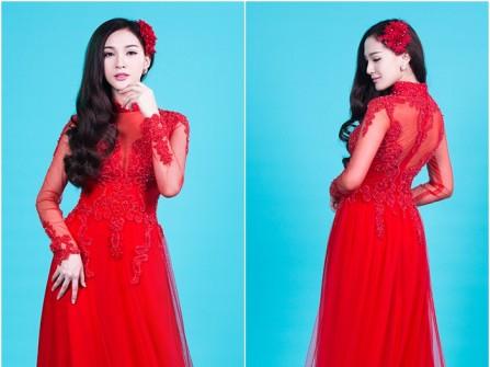Áo dài cưới đẹp màu đỏ phối voan mỏng quyến rũ