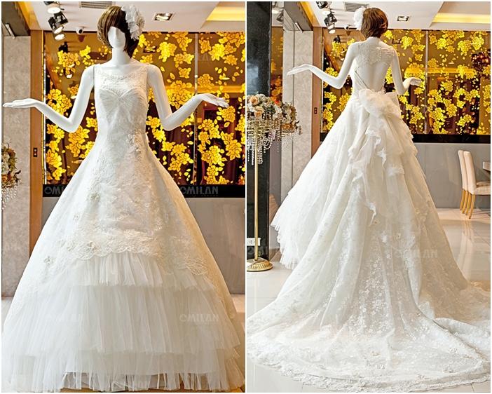 Váy cưới đẹp công chúa phối ren và voan xếp tầng