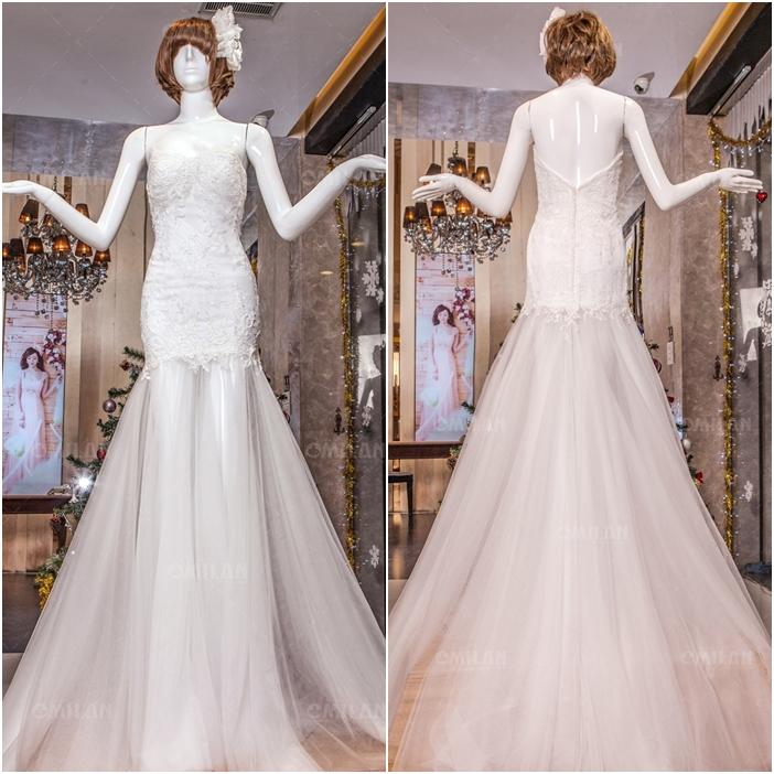 Váy cưới đuôi cá phối voan xuyên thấu gợi cảm