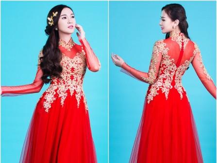 Áo dài cưới đỏ phối voan viền ren vàng sang trọng