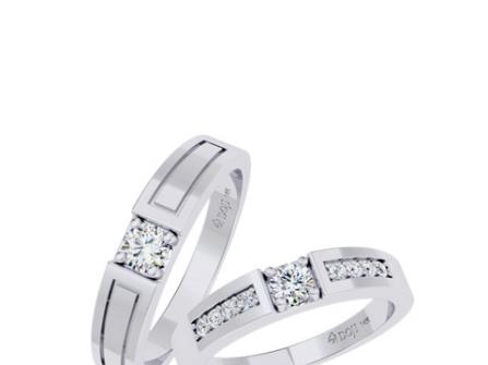 Nhẫn cưới vàng trắng viền kim cương tinh tế