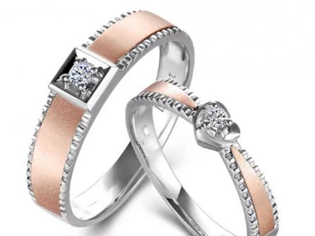 Nhẫn cưới vàng hồng thiết kế hiện đại, cầu kỳ