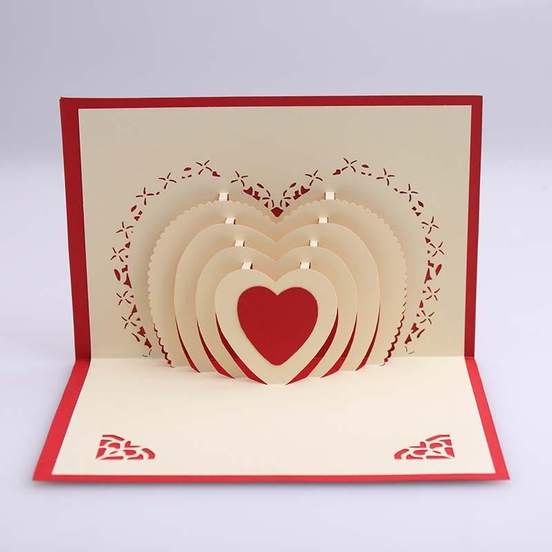 Thiệp cưới đẹp phong cách pop up hình trái tim độc đáo