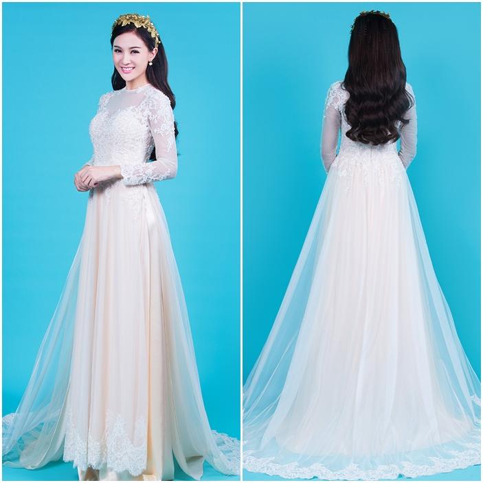 Áo dài cưới đẹp chất voan phối ren màu trắng tinh khôi