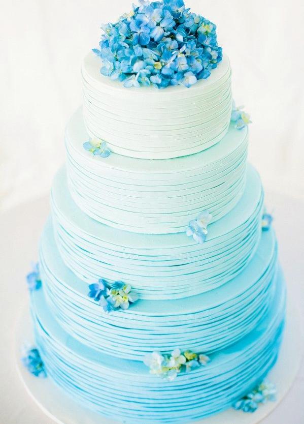 Bánh cưới đẹp màu xanh ombre kết hoa cẩm tú cầu