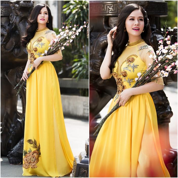 Áo dài cưới đẹp màu vàng họa tiết hoa mẫu đơn kết đá tinh xảo