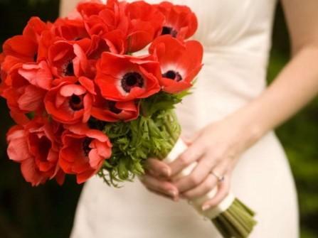 Hoa cầm tay cô dâu kết từ hoa anh túc đỏ