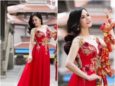 Áo dài cưới đẹp màu đỏ kết hoa nổi 3D