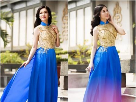 Áo dài cưới đẹp màu xanh cobalt phối ren vàng đồng
