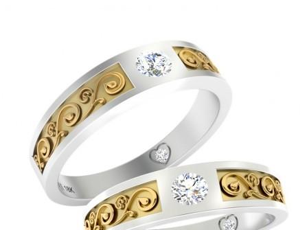 Nhẫn cưới vàng trắng chạm khắc họa tiết vàng tinh xảo