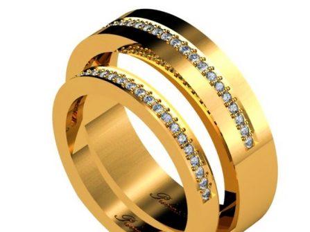 Nhẫn cưới vàng bản vuông đính kim cương hiện đại